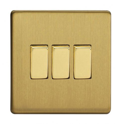 Varilight XDB3S Screwless Brushed Brass 3 Gang 10A 1 or 2 Way Rocker Light Switch
